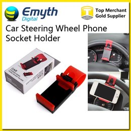 Wholesale Bike Iphone Holder - Car Steering Wheel Phone Socket Holder SMART Clip Car Bike Mount for iPhone6 iphone 6 plus s5 S4 NOTE 2 easy use GPS with retail package