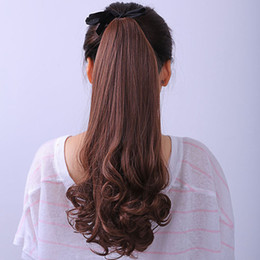 Wholesale Fashion Hairpieces - Fashion Ladies Ponytail Wigs Clip Wave Curly Rinka Hairwear Cosplay Make Up Hairpiece HW123
