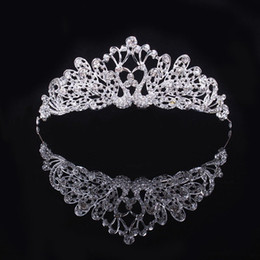 Wholesale Crystal Hair Accessories Peacocks - Luxury Silver Peacock Crystals Wedding Crowns Shinning Bridal Tiaras Rhinestone Head Pieces Cheap Hair Accessories Pageant Crown