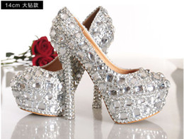 Wholesale Gorgeous Diamond Shoes - Sparkly Gorgeous Handmade Diamonds Rhinestone Wedding shoes High Heels