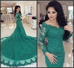 Wholesale Turquoise White Formal Dress - Designer Arabic Turquoise Green Mermaid Evening Dresses Long Sleeves 2016 Cheap Sexy Lace Appliques Formal Party Prom Gowns Celebrity Dress