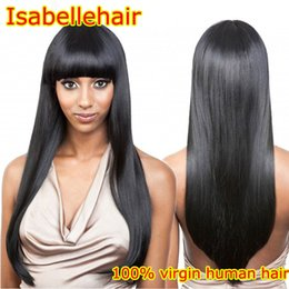 Wholesale Affordable Baby - Silky Straight Human Hair Wig Full Bangs Grade 8A Affordable Full Lace Wigs   Brazilian Virgin Lace Front Wig Black Women Baby Hair
