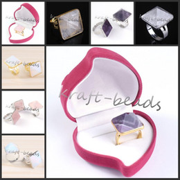Wholesale Precious Stones Rings - wholesale 10X silver plating beautiful mix pyramid precious stone Beads Adjustable Stone Finger Ring Jewelry