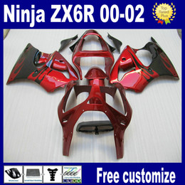Wholesale Paint Abs Plastic - 7 giftss! Red black custom paint fairings for 2000 2001 2002 Kawasaki ZX6R fairing kits 636 ZX-6R 00 01 02 ZX 6R ABS plastic parts