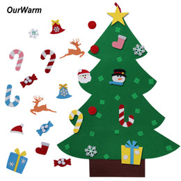 Wholesale Christmas Wall Hanging Decorations - Ourwarm Kids Diy Felt Christmas Tree With Ornaments Children Christmas Gifts For 2018 New Year Door Wall Hanging Xmas Decoration