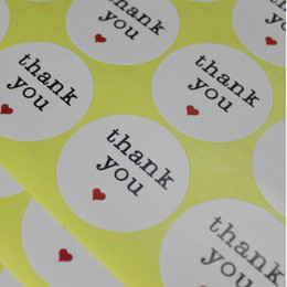 Wholesale Tags Stickers Wholesale - 3.8cm Round Thank You Heart Design Sticker Labels Seals Gift Stickers For Wedding Party Invitation Envelope Baking Sealing Tag