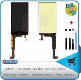 2019 жк-дисплеи для сотовых телефонов Wholesale-LCD for  Desire 616 Dual Sim Cell Phone LCD display Digitizer Screen Replacement with touch screen Free shipping скидка жк-дисплеи для сотовых телефонов