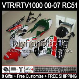 Wholesale Rc51 Fairings - 8Gifts For HONDA VTR1000 00-06 Castrol Red white VTR 1000 R RC51 SP1 SP2 RTV1000 Y5537 RTV 1000 1000R 00 01 02 03 04 05 06 Green Fairing