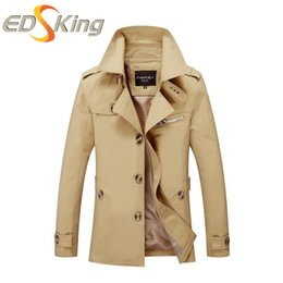 Wholesale Long Sections Trench Coats - Wholesale- 2017 Autumn Winter Mens Jacket Man Thin Section Trench Coat For Large Size Business Casual Long Cotton Cool Washing Windbreaker
