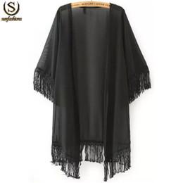 Wholesale Cheap Japanese Clothes - Vintage Hot Tops Summer Cheap Branded Japanese Clothes Latest Women Sheer Black Half Sleeve Tassel Chiffon Loose Kimono