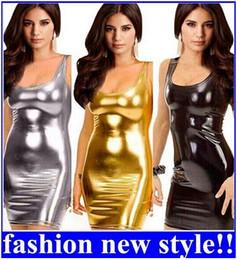 Wholesale Stripper Mini Dress - Women's Gothic Sleeveless Dress Metallic Wetlook Clubwear Stripper Gold  Black  Silver Sexy Mini Club Dress new arrive!!free shipping
