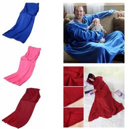 Wholesale Warmer Sleeves - 3 Colors 170*135cm Soft Warm Fleece Snuggie Blanket Robe Cloak With Cozy Sleeves Wearable Sleeve Blanket Lazy Blankets CCA7851 100pcs