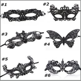 Wholesale Outlet Costumes - Factory outlet Mascaras Halloween Props Sexy Lace Party Masquerade Mask Venetian Costume 6 Patterns For Wedding Xmas day