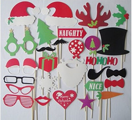 Wholesale Mustache Lips - Christmas And Halloween 28pcs lot DIY Photo Booth Props Mustache Lip Hat Antler Gift Stick Christmas Party