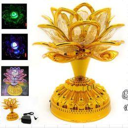 Wholesale Led Lotus Crystal Lamp - LED colorful lotus lamp chanting Buddha GongDeng sing fo mechanical sowing machine sutras wholesale