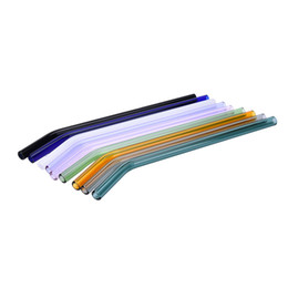 Wholesale special straw - Set of 5 Different Color Special Fine Curved and Straight Glass Pipet Environmental Glass Health Baby Drinking Straws Pipette