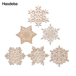 Wholesale wood placemats - Wholesale- Haodeba 1pcs 12cm Wood Snowflake Coasters Cup Mat Placemats for Table Decorations Great Gifts