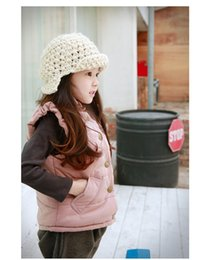 Wholesale Child Girl Tweed Coat - Waistcoat Girls Winter Jacket Girls Winter Coats Winter Jacket Kids Children Clothing Autumn New Girls Tide Cotton Solid Color Single Winter