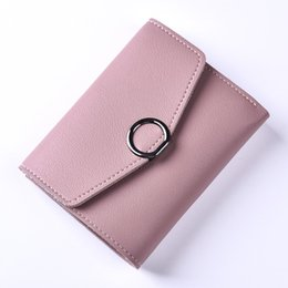 Wholesale korean dark blue dress - A short section of the new tide fashion female wallet candy color leather zipper Purse Wallet seventy percent off ring buckle