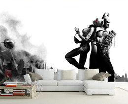 Wholesale Large Black White Photos - Batman & Catwoman Wall Mural Black & white Photo Wallpaper Vintage Wallpaper Painting Large wall art Room Decor Bedroom Sofa background wall