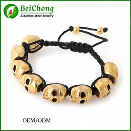 Wholesale Skull Macrame Bracelet - BC Jewelry Macrame north skull stainless steel beads bracelets drawstring adjustable armband wristband handmade fashion jewellery BC-101