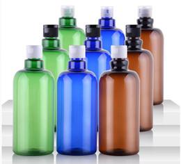 500 мл Пустой Пластиковый ПЭТ Коричневый Синий Зеленый Длинный Раскладной Шей Бутылка Косметическая Эмульсия Упаковка бутылки Многоразового Бесплатная Доставка от