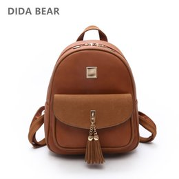 Wholesale Cool Dresses For Women - DIDA BEAR Women Leather Backpacks School Backpack For Teenagers Girls Lady Cool Rucksack Bag with Tassel Female Backbag Mochila