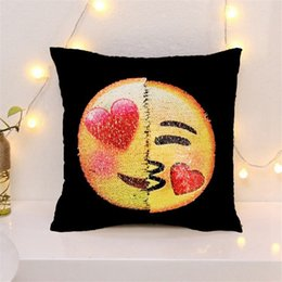 Wholesale Cover Change - Sequins Pillow Case Emoji Cushion Gradient Color Change Face Double Color Pillow Cover Soft Car Sofa Ornament Bright Covers Wholesale