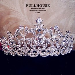 Wholesale Headdress Ring - In Stock !!2015 Luxury Wedding Bridal Emperial Cown Hot Sale Wedding Accessories Fancy Shining Crytal Tiaras & headdress Free shipping