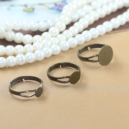 Wholesale Adjustable Blank Rings - (40 pcs lot) 6mm  8mm  12mm antique bronze pad ring base anillo adjustable ring blank glue on cabochon rings findings cy531
