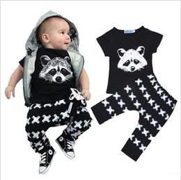 Wholesale Kids Bear Costumes - Baby Bobo Choose Outfits Fox Cotton T-shirt+cross Pants Leggings Costume Kids 2pcs Set Summer Bear Kids Clothing Sets 5sets lot