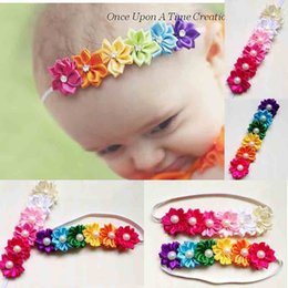 Wholesale Flower Photographs - Baby headbands Kids Infant colorful fabric flowers pearl Hair Accessories Cute Korea hair band Photograph headdress Hair Sticks Hairbands