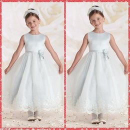 Wholesale Ribbon Flower Appliques - Crew Neck Lace Appliques Sky Blue Flower Girls Dresses Ankle-Length Ribbon Waistline Formal Wear For Kids Birthday Party Gowns Spring Summer