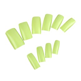 Wholesale Black Nails False Gel - Pro 500Pcs 10 Size Fake Green Colors French Smooth Design False UV GEL Nails Art Tips Wide Acrylic For DIY Manicure Tools