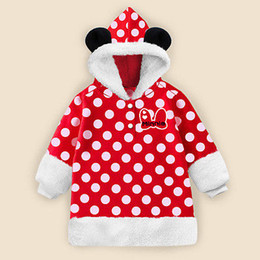 Wholesale Mouse Outfits - Wholesale- Cute Christmas Baby Girls Clothes Winter Warm Carton Mouse Sweatshirt Hooded Coat Top Outfits Set