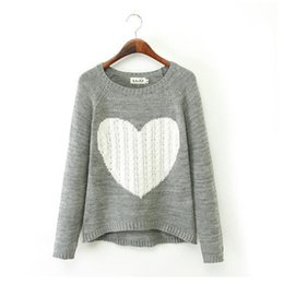 Wholesale Blouse Hearts - Hot Sale Ladies Warm Winter Pullovers Knitted Sweaters Jumper Heart Shape Tops Round Neck Long Sleeve Blouses bz657655