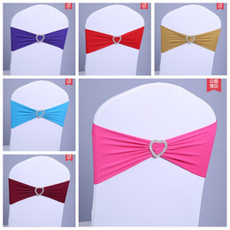 Wholesale Wholesale Spandex Chair Sashes - 2016 Wholesale Elastic Stretch Chair Cover Bands Lycra Spandex With Crystal Buckle Replace Chair Sash Bow Wedding Party Chair Decor