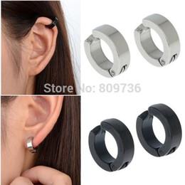 Wholesale Jewelry Ear Cuff Hoop Earring - 1Pair Mens Stainless Steel Ear Cuff Hoop Non Piercing Clip on Earrings Punk Hot Black Silver Jewelry Free Ship