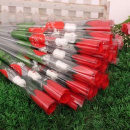 Wholesale Valentines Wedding Supplies - Valentine selling a single branch simulation cartoon bear heart-shaped red roses silk flower wedding wedding supplies H5