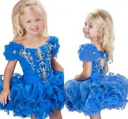 Wholesale Kids Blue Bubble Skirt - 2015 Cute Scoop neck Flower Girls' Dresses Organza Skirt Cap Sleeves Beaded Custom Made Bubble Sleeves Ball Gown Short Lovely Kids' Party