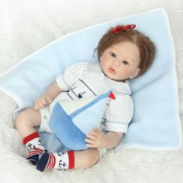 Wholesale Reborn Doll Hair - Wholesale- Reborn Baby Doll Half Silicone Body Newborn Girl Realistic Looking Curly Hair, 22inch 55cm