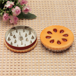 Wholesale Machining Zinc - zinc alloy cookie biscuit shape 2 part tobacco herb grinder crusher rolling machine shisha hookah pipe vaporizer