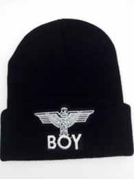 "Wholesale Hip Hop Style Beanie Hats - 2017 100% Acrylic Beanie Hat Hip Hop wool winter Cotton knitted New boys men's HOT ""boy"" styles Boy London Beanie 3D embroidery plain beanie"
