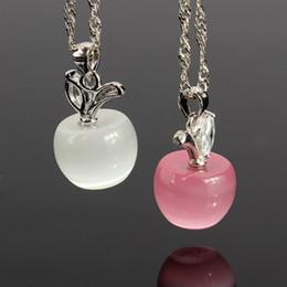 Plata de ley rosa opal online-2015 nueva moda 925 colgantes del collar de plata clara / rosa Opal manzanas Crystal Faux Diamant collares encantadores