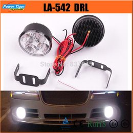 Wholesale Daytime Running Light Drl Round - LA-542 New 12v 24v Auto Car 4W 4-LED *2 High Brightness Round Daytime Running Lights Car Front Fog Tail Lamp Car LED DRL