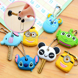 Wholesale Minion Top Wholesale - Wholesale-Stylish Korea Cute Soft Key Top Head Cover Chain Cap Keyring Phone Strap Minion