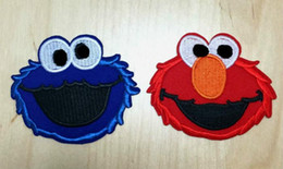 Wholesale Applique Badges Patches - 2.75 inch Hot Sale! Wholesale Cartoon Sesame Street Elmo Embroidered Iron On Patches Applique Badge sew on patch GP-050 Kids