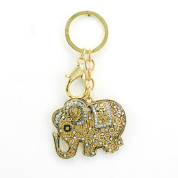Wholesale Hanger Clasp - Fashion Plated Gold Keyring Hollowed White Rhinestone Retro Elephant Charms Lobster Clasp Keychain Car Hanger Jewelry