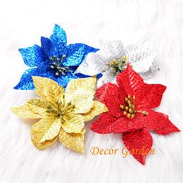 Venta al por mayor 13 cm 4 colores cabeza de flor de navidad Artificial seda Poinsettia flores para vacaciones decoración del hogar suministros de Navidad desde fabricantes
