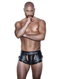 Wholesale Male Erotic - New Men Sexy Black Faux Leather Boxer Shorts Erotic Jockstrap Wrap Penis Pouch Underwear Fetish Gay Male Lingerie Trunks